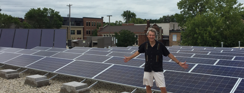 Don Wickert on Rooftop of Willy Street Co-op East
