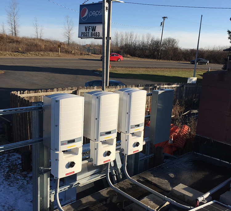 Inverters on Rooftop of the VFW 8483 Post in Madison